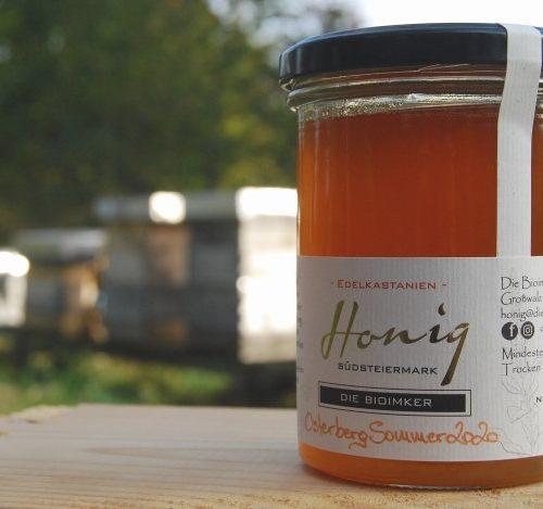 """500g Honigglas des Bio-Honigs """"Osterberg Sommer 2020 - Edelkastanienhonig"""""""