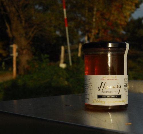 """500g Honigglas des Bio-Honigs """"Eichberg Spätsommer 2020 - mit Linde- & Edelkastanie"""""""